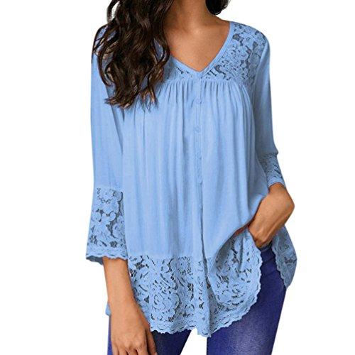 Cou Bleu Shirts LaChe V Chemisier Dentelle Trois VJGOAL Mode Ciel T en Bouton Quarts Hauts Femmes Chic Dentelle Blouse zxPxFTq