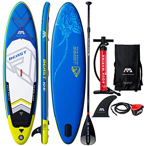 Aqua Marina Beast Inflatable Stand Up Paddle Board 10 6 6 Thick Includes Double Action Pump, Magic Backpack, Slide-in Center Fin, Sports III Paddle, Safety Leash