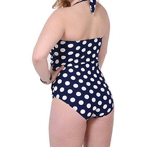Laixing 665900 Plus Size Dot Swimwear Women Swimsuit Push Up Padded Bikini Dark Blue