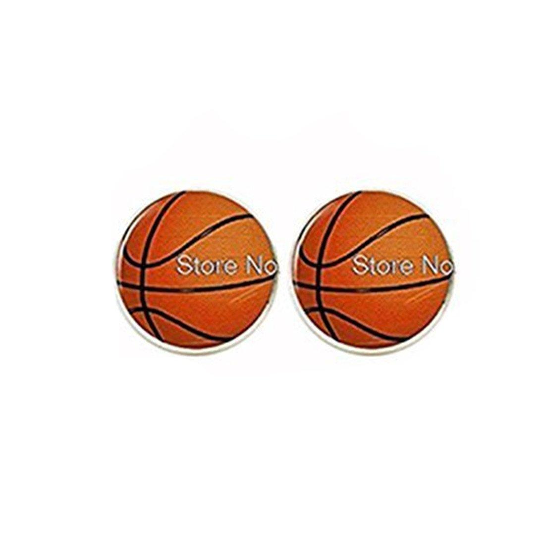 Baloncesto pendientes Stud Cristal cabochon pendientes: Amazon.es ...