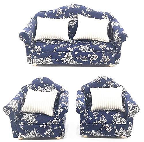 (EatingBiting(R) 1:12 Dollhouse Miniature Furniture Sofa 1 Double Sofa + 2 Single Sofa 3Pcs Set Living Room 1:12 Dollhouse Miniature Furniture Single Sofa)