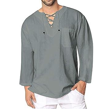 LuckyGirls Camisetas Suelto Vintage Camisa Cuello en V de Bandage Retro Lino Casual Poleras Polo Moda Sudaderas Chándales Mangas Larga de los Hombres: ...