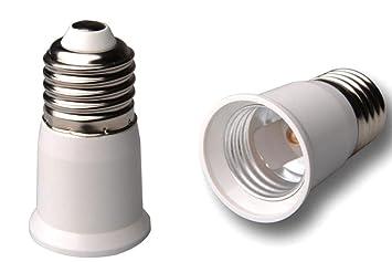 niceEshop - Casquillo adaptador, conversor y alargador para bombillas LED de bajo consumo (E27), color blanco: Amazon.es: Electrónica
