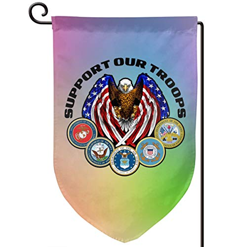 ULNL Support Our Troops Graden Flag Yard Flag for Home Outdoor Decor 12x18 in Double Sided -