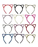 Newbested 12 PCS Cat Ear Headband Hair Band Fluffy Hair Hoop Headband for Party,Daily Decoration and Fancy Dress Party,Assorted Colors,