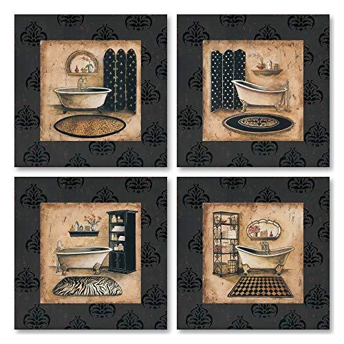 Classic Elegant Bath Tub Prints; 4- 12x12