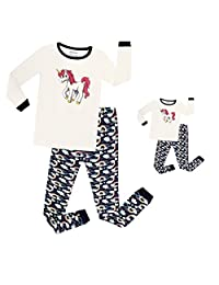 Elowel Unicorn Matching Girl & Doll 2 Piece Pajama Set 100% Cotton (Size 2-12 Years)
