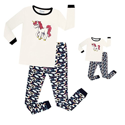 Elowel Unicorn Matching Girls & Doll 2 Piece Toddler Kids Pajamas pjs 100% Cotton Size 7