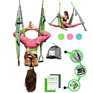 Aerial Trapeze Yoga Swing - [UPDATED VERSION] Gym Strength Antigravity Yoga Hammock - Inversion Trapeze Sling Exercise… Inversion Equipment
