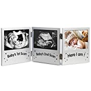 VonHaus Triple Sonogram Picture Frame for Keepsake Ultrasound Pregnancy Scan Images and Baby Photos - The Perfect Gift Idea for Expecting Parents