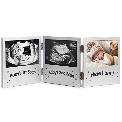 VonHaus Triple Sonogram Picture Frame for Keepsake Ultrasound Pregnancy Scan Images and Baby Photos - The Perfect Gift Idea for Expecting Parents, Silver