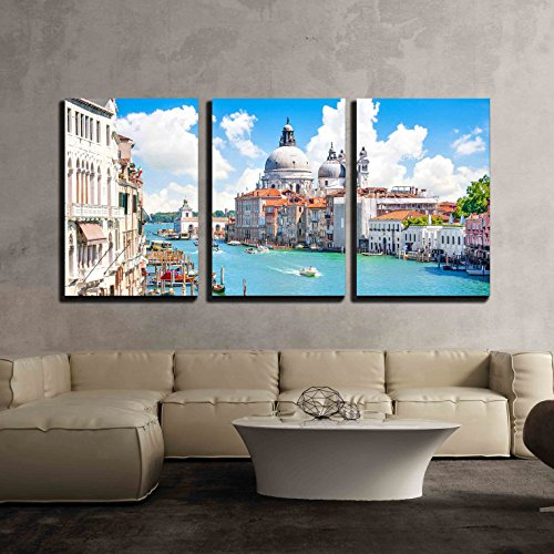 wall26 - 3 Piece Canvas Wall Art - Grand Canal with Basilica Di Santa Maria Della Salute, Venice, Italy - Modern Home Decor Stretched and Framed Ready to Hang - 24