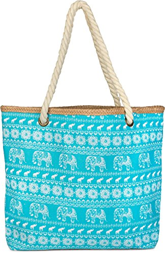 Color zipper beach Turquoise Turquoise styleBREAKER 02012063 elephant ethno shopper ladies bag print sling bag with xqY7qw6