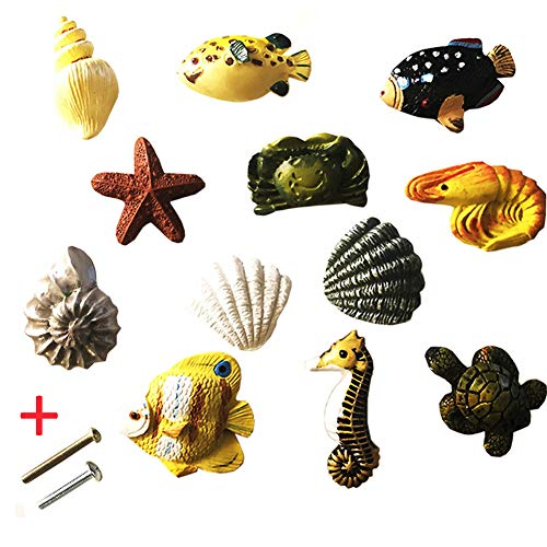 Turtle Drawer Pull - Lemonadeus Unique Coastal Sea Life Decor Shells, Starfish, Fish, Seahorse, Crab, Lobster, Turtle Knobs Drawer Pulls, Drawer Handle(Set of 12)