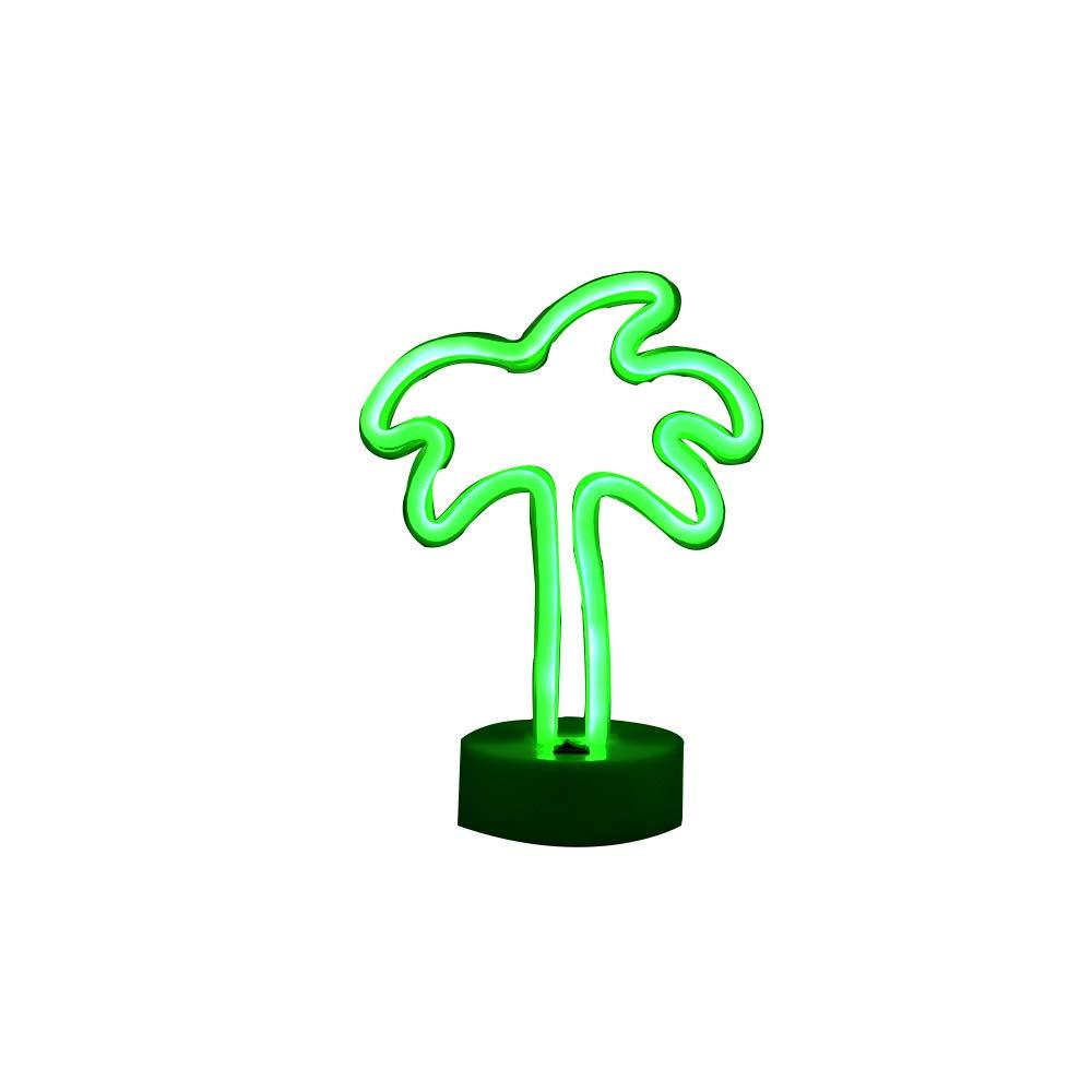 Insegne al neon albero di palma da cocco, segno della luce al neon a LED con base del supporto per il partito, decorazioni da tavola, decorazioni per la casa di stagione bambini regali per bambini (albero di palma con supporto) ZONYEO