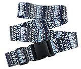 1 PC Oliveland Blue Tribal Pattern Adjustable Luggage Straps Suitcase Belt up to 75.5 Inches (1pcblueaz)