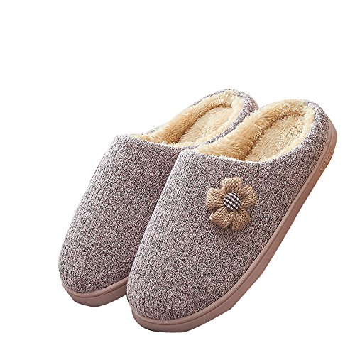 FreLO Womens Comfort Pink Slip On Knitting Plush Lining Indoor Slippers Womens Slippers