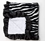 Zebra Baby Blanket in Faux Fur with Black Satin Ruffle and Ultra Lux Plush White Swirl on Back, An Alexander Timothy Designer Baby Throw