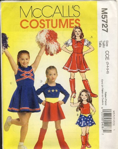 McCall Sewing Pattern M5727 CCE - Use to Make - Child's Girl's Cheerleader, Super Hero Costumes - Sizes 3, 4, 5, 6