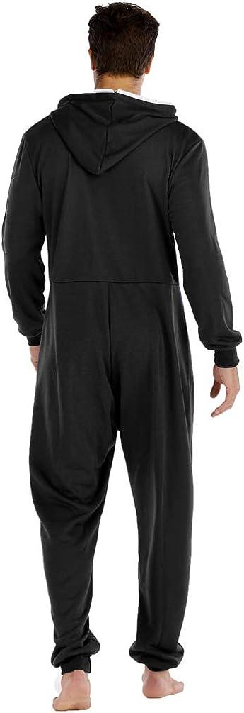 Ketamyy Uomo Pigiama con Cappuccio Tinta Unita Casual Zip Manica Lunga Adulti Pezzo Unico Pajamas Invernale Autunno Confortevole Pigiami da Casa