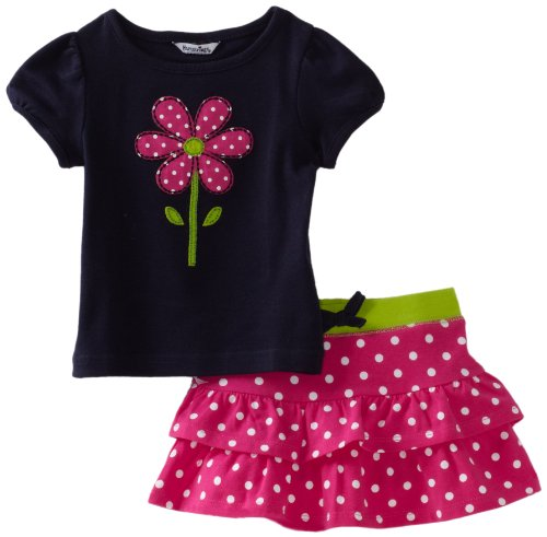 Hartstrings Baby Girls' Flower Tee Shirt And Printed Tierred Skort Set, Pink Dot, 18 Months