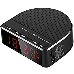 Callany Digital Alarm Clock Radio with Bluetooth Speaker,Red Digit Display with 2 Dimmer,FM radio, AUX-in,USB Port Bedside led Alarm Clock.