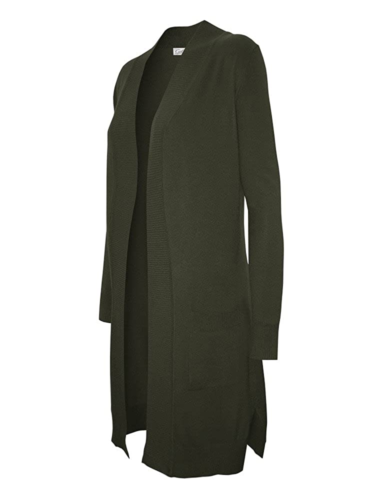 Olive CIELO Women's Solid Basic Long Line Open Front Pockets Knit Sweater Cardigan