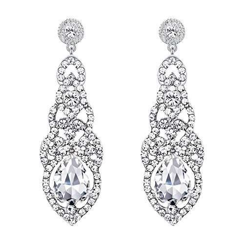 BriLove Wedding Bridal Dangle Earrings for Women Crystal Art Deco Teardrop Hollow Chandelier Earrings Clear -