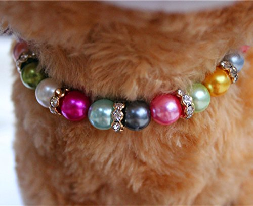 Gorgeous Bling (New Handmade Cat Dog Necklace Jewelry with Bling Rhinestone Colorful Pearls Gorgeous for Pets Cats Puppy Dogs Puppy Chihuahua Yorkie Girl Costume Outfits, Adjustable Dog Collar (M(necksize 10-12inch)))