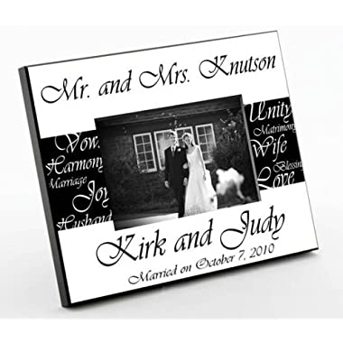 Personalized Gift - Mr. & Mrs. Bride & Groom Wedding Picture Photo/Photograph Frame - Black & White Style