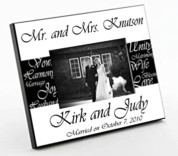personalized gift mr mrs bride groom wedding picture photophotograph - Engravable Picture Frames