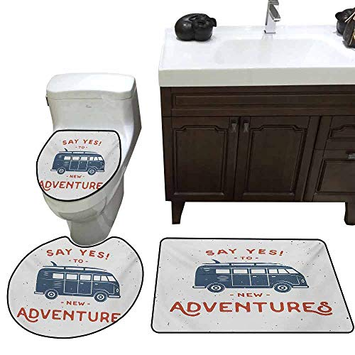 Toilet Cover pad Set of 3 Vintage New Adventures Typography with Little Van Hippie Lifestyle Free Spirit Print Custom Made Cadet Blue White