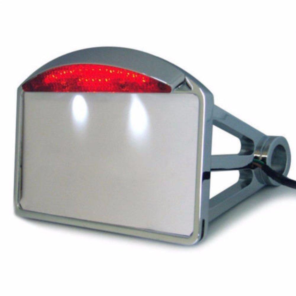LEAGUE&CO Schwarz Chrome Seitliches Kennzeichen Halterung Kennzeichenhalter mit LED Beleuchtung fü r Harley Davidson CHOPPER (seitlich, Chrome)