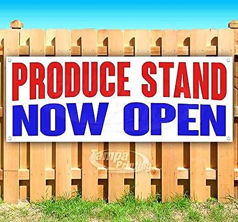 Amazon.com: Produce Stand Now Open - Cartel de vinilo ...