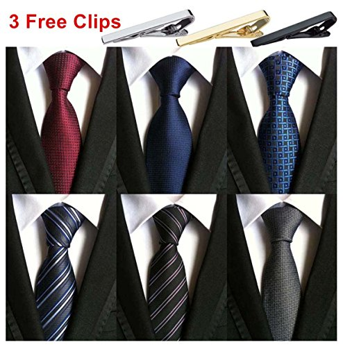 Weishang Pack of 6 Men's Classic Tie Silk Necktie Woven Jacquard Neck Ties (Set 4) by WeiShang