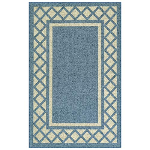 (Maples Rugs Kitchen Rug - Bella 2'6 x 3'10 Non Skid Hallway Entry Rugs Accents [Made in USA] for Kitchen and Entryway, Blue)
