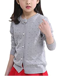 MFrannie Girls Bubble Pointelle Bow Knot Spring Cute Cardigan Sweater