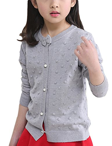 MFrannie Girls Bubble Pointelle Bow Knot Spring Cute Cardigan Sweater Gray 5-6T (Pointelle Bow)