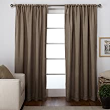 Exclusive Home Curtains Burlap Jute Rod Pocket Window Curtain Panel Pair, Natural, 54x96