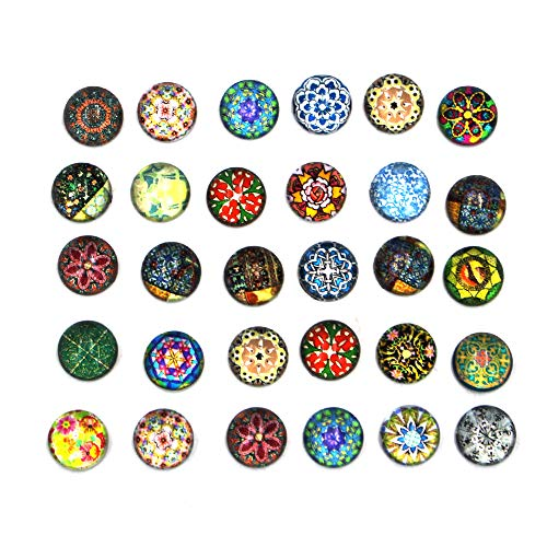 (KisSealed 200 Pieces 12mm Mixed Color Flower Pattern Mosaic Printed Glass Half Round/Dome Cabochons forJewelry Making )