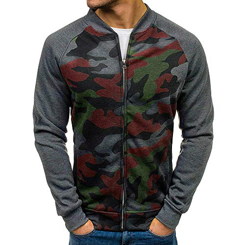 - iYYVV Mens Casual Long Sleeve Pocket Slim Fit Camouflage Full Zip Bomber Jacket