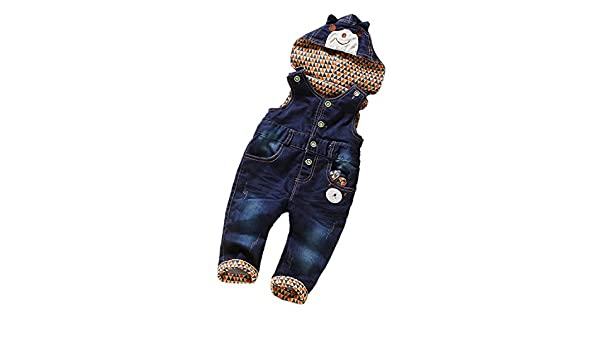 d54f585a2add Amazon.com  Felds Denim Overalls for A Boy Girls Clothing Hooded Bib Pants  Kids Jeans Jumpsuit Blue 4T  Clothing
