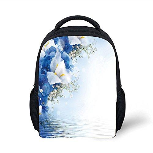 Hydrangea Dreamy (iPrint Kids School Backpack Light Blue,Blue Hydrangeas and White Irises over The Sea Romantic Bouquet Dreamy,Blue Light Blue White Plain Bookbag Travel Daypack)