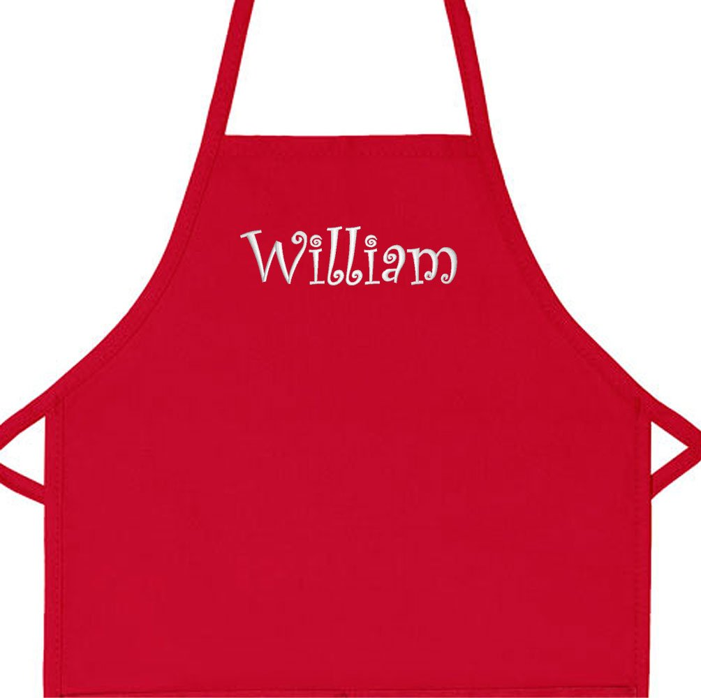 Personalized Apron Embroidered Add a Name Kids Apron (Red, Long 16'' x 24'' (for kids ages 7 to 11))