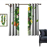 """color schemes for bedrooms Letter U Thermal Insulated Drapes for Kitchen/Bedroom Capitalized U with Forest Color Scheme Plants Wildflower Butterflies Design Darkening and Thermal Insulating 55""""Wx72""""L Green Multicolor"""