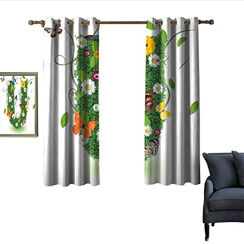 """Letter U Thermal Insulated Drapes for Kitchen/Bedroom Capitalized U with Forest Color Scheme Plants Wildflower Butterflies Design Darkening and Thermal Insulating 55""""Wx72""""L Green Multicolor"""