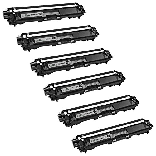 Speedy Inks - 6PK Brother Compatible TN221 black toner cartridge TN221BK for Brother HL-3140CW, HL-3170CDW, MFC-9130CW, MFC-9330CDW, MFC-9340CDW.