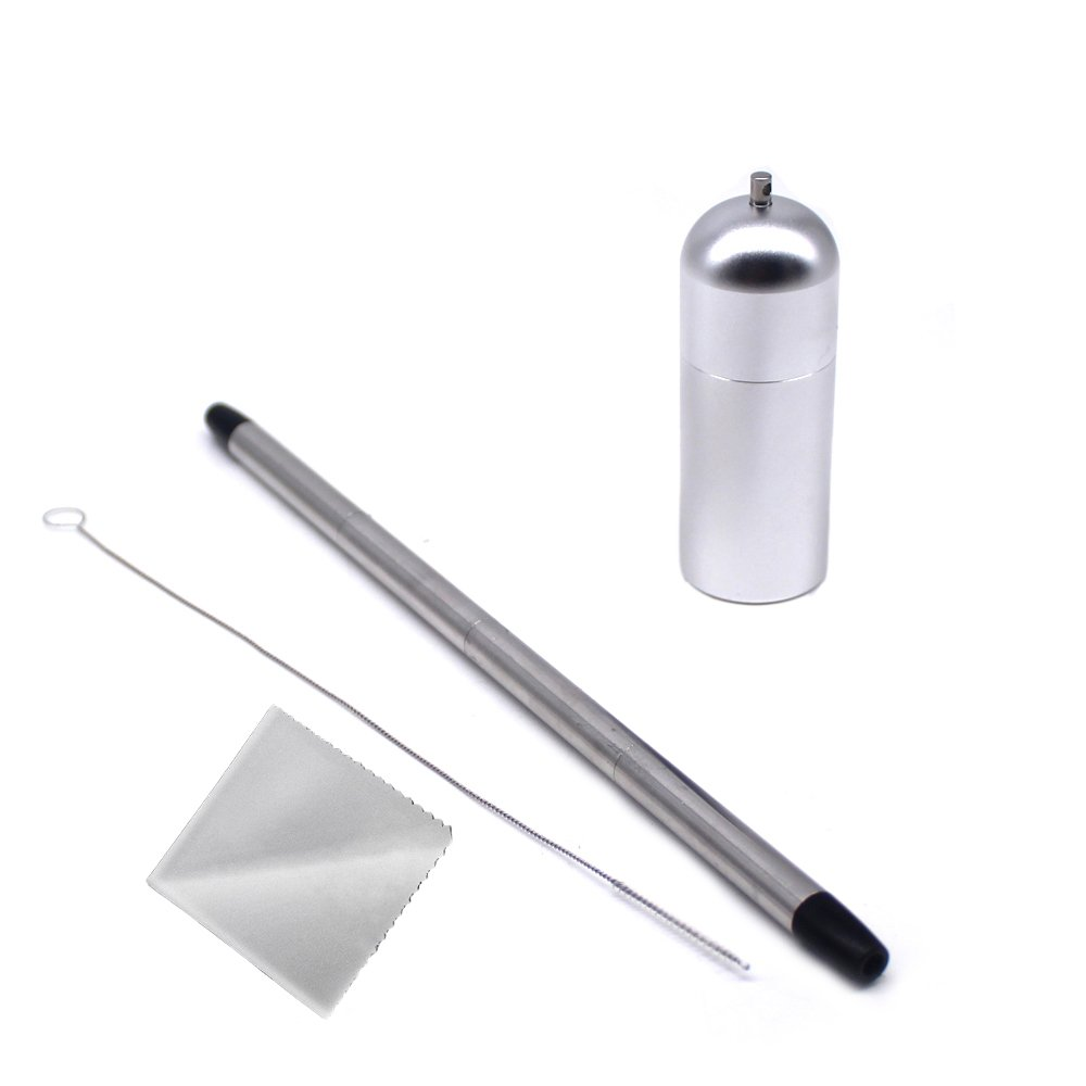 Saiko Collapsible Reusable Metal Stainless Steel Portable Drinking Straws 9.5 inch with deep clean brush (silver)