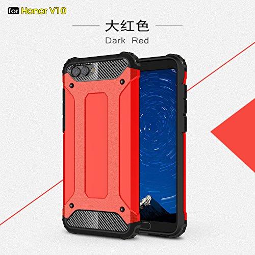 Funda Huawei Honor View 10/Honor V10,XINYUNEW TPU+PC [Regalo Cristal Vidrio Templado] Premium Armadura Híbrido caja de la armadura para el teléfono Silicona Carcasa Case Funda para Huawei Honor View 1 Rojo