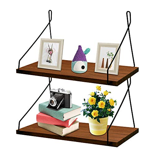 MONOLED Floating Shelves, Wall Mounted Floating Shelves, Set of 2, Rustic Metal Wire Floating Wood Shelf Storage Rack for Living Room Bedroom Bathroom Kitchen School Office (Brown)